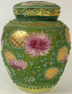Antique Nippon Porcelain Moriage Ginger Jar Tea Caddy