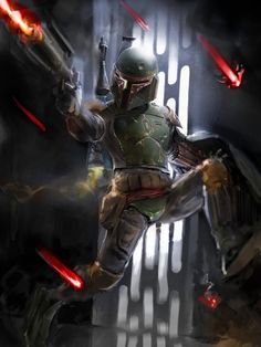 I was playing around with the idea of doing some bounty hunters in dynamic shots. Well, trying to make Boba Fett more cool is a challenge so I made him . See Boba Fett Run. Boba Fett Mandalorian, Jango Fett, Star Wars Boba Fett, Boba Fett Art, Mandalorian Cosplay, Star Wars Pictures, Star Wars Images, Chasseur De Primes, Star Wars Bounty Hunter