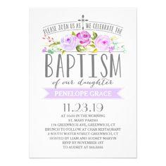 Rose Banner   Girl Baptism Invitation   Purple