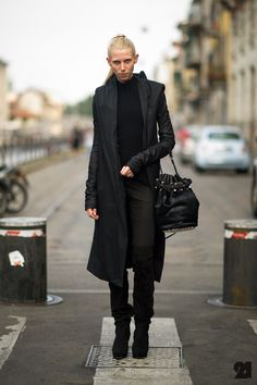 #AnnChristensen owning it in blackout favourite Rick Owens with some A. Wang in Paris. #Le21eme