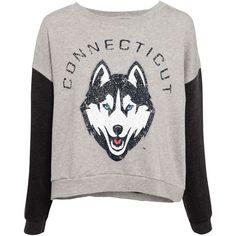 Pull & Bear Print Sweatshirt ($6.08) ❤ liked on Polyvore featuring tops, hoodies, sweatshirts, sweaters, shirts, t-shirts, grey marl, grey sweatshirt, grey sweat shirt and print top