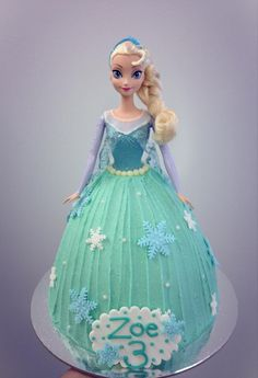 Frozen, Elsa, Dolly Varden cake Frozen Themed Birthday Cake, Doll Birthday Cake, Frozen Theme Cake, Themed Cakes, Frozen Doll Cake, Elsa Doll Cake, Frozen Dolls, Princess Doll Cakes, Tarta Frozen Disney