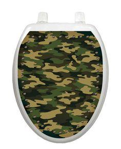 Toilet Tattoos Military Camoflauge Brown Decor for Toilet Lid Vinyl Reusable #ToiletTattoos