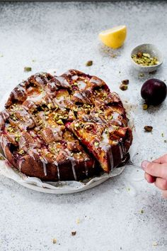 Plum, Pistachio & Lemon Cake | The Brick Kitchen