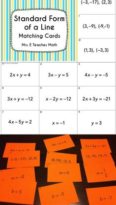 Standard Form of a Line Matching Cards - great algebra activity