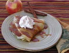 Apple-Filled Crepes with Carmel Sauce