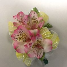 Pink Alstroemeria and Yellow Ribbon Prom Corsage