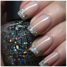 DIY Nails Art :DIY Glitter Nails Art : DIY: Glitter Manicures #WhiteToenailFungus French Nails, French Manicure With A Twist, Glitter French Manicure, Glitter Nail Art, Nail Manicure, Diy Nails, Cute Nails, Pretty Nails, Silver Glitter
