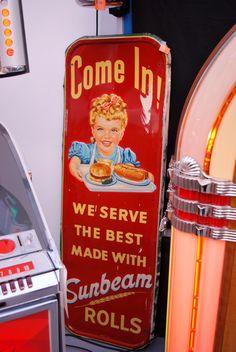 Embossed Sunbeam Bread-Rolls Advertising Sign 1953