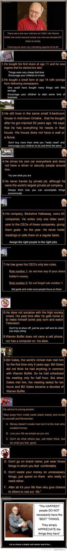 Simple, yet smart financial tips from Warren Buffett, the second richest man in . Warren Buffett, Move On, Warren Buffet Quotes, Rich Kids, Rich Man, Financial Tips, Way Of Life, Good Advice, Marketing
