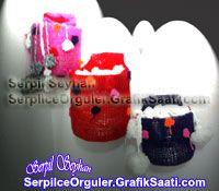 Pet şişe üstüne örgüden atkı şapka eldiven kutusu Knitting Works and recycling projects: Pet bottle on top of the weft knitting hats glove box