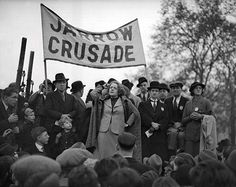 Ellen Wilkinson MP addresses the Jarrow marchers in Hyde Park, 1936. Wilkinson (1891-1947), the 'Pocket Pasionaria', the 'Fiery Atom' was MP for Jarrow, an instigator of the famous march; and as 'Red Nellie', a hugely popular public personality.