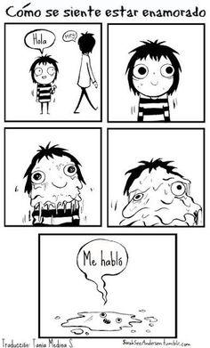 Comic que ilustra la lógica femenina chica derretida
