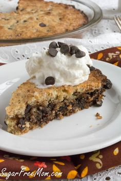 Yummy Sugar Free Chocolate Chip Pie from @SugarFreePie gluten free, low carb