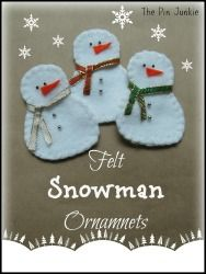 Directions and patterns for making easy felt snowman ornaments.