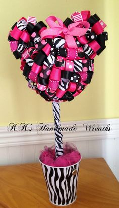 Zebra Print Minnie Mouse Ribbon Topiary by KKsHandmadeWreaths, $30.00
