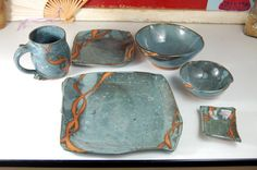 Six Piece Place Setting in Slate Blue with Rust by pagepottery