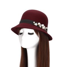2016 Pearl Fedora Hats For Women Autumn Winter Wool Felt Fedoras Flat  Cloche… Fedora Hat 316b37a4816