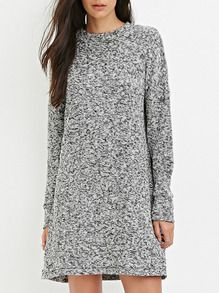 Grey Crew Neck Sweater Dress