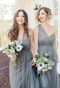 Heather gray, anemone bouquet, one-shoulder bridesmaids // Rachel Red Photography