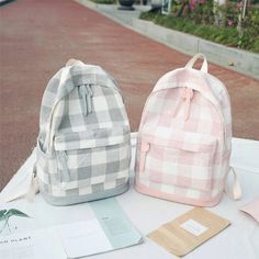 Cute Plaid Pastel Backpacks Material: Canvas SIZE: Item ships within 24 to 48 hours. Buying 2 or more items automatically saves you money on shipping fees. We provide fast and safe shipping world wide! Cute Backpacks For School, Cute School Bags, Cute Mini Backpacks, Cute School Supplies, Stylish Backpacks, Cool Backpacks, College Backpacks, Teen Backpacks, Leather Backpacks