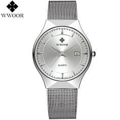 WWOOR Men's Stainless Steel Glossy Display Watch