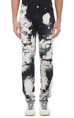 Saint Laurent Distressed Bleached Jeans at Barneys New York