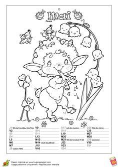 Un Faune qui joue de la flûte pour amuser ses petits amis, calendrier illustré du mois de mai à colorier