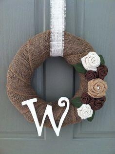 Burlap Wreath with Burlap Rosettes