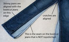 I might have to give this a try...I have soooo many bootcut jeans that look pretty much brand new.  mmmcrafts: summer reruns: bootcut to skinny jeans tutorial