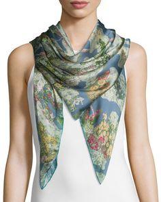 Valentino  Garden Sky Silk Voile Scarf, Multicolor