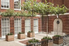 Lower level of red brick courtyard in London's Mayfair district. Iroko wood planters with table-top, deciduous trees and perennial plants set on gravel surface between york stone and red brick paving. Designed by Modular Red Brick Paving, Brick Courtyard, York Stone, Orange Brick, Wooden Planters, Garden In The Woods, Deciduous Trees, Red Bricks, Contemporary Landscape