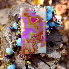 Contemporary Polymer Clay Pendant on  by purplecactusstudios, $55.00