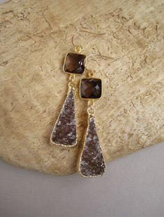 Brown Druzy Earrings Drusy Smokey Quartz Gold by julianneblumlo, $135.00