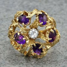 Vintage Amethyst and Diamond Ring | Perry's Fine Antique & Estate Jewelry
