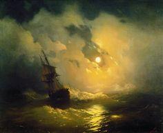 Storm on the sea at night 89h106 1849. Ivan Konstantinovich Aivazovsky (1817-1900) •