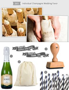 wedding favor - mini champagne bottles  Photo: Tucker Images // Featured: The Knot Blog