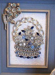 """Framed Jewelry Postcard """"Happy Easter Basket """"   Floral Arrangement  Blue  OOAK"""