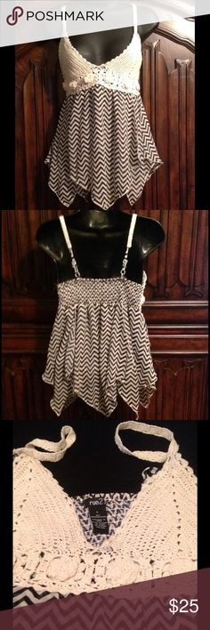 Adorable Rue 21 Crochet/Sheer Chevron Top Adorable Rue 21 top with crochet on the top &a sheer chevron material on the bottom! Excellent condition! Only tried on once! Rue 21 Tops Blouses