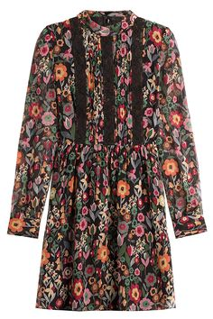 RED VALENTINO Black Floral Printed Silk Mini-Dress with Black Lace