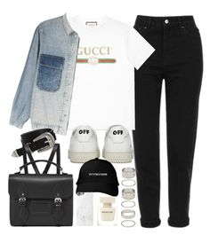"""""""outfit with a distressed Gucci tee and sneakers"""" by ferned on Polyvore featuring Topshop, Gucci, Off-White, M.i.h Jeans, ASOS, The Cambridge Satchel Company, Forever 21, Native Union and Narciso Rodriguez"""