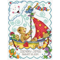 Amazon.com: Tobin Sail Away Baby Counted Cross Stitch Kit, 11-Inch x 14-Inch
