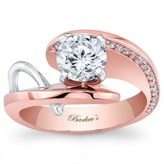 Barkev's 14K Rose and White Gold Diamond Round Cut Prong Set Contemporary Engagement Ring Featuring 0.08 Carats Style 7619LTW