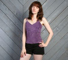 vintage dusty purple suede leather tank