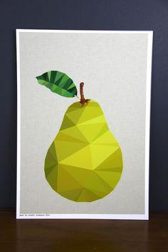 Original Pear fruit australian geometric art by empiricalstyle