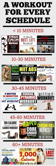 A workout for EVERY schedule - whether you have less than 10 minutes or more than an hour to workout! Tone-and-Tighten.com