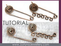 Spiral Safety Pin Tutorial Wire Jewelry by JustynaJewellery