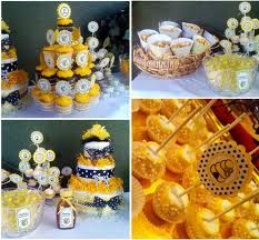 Bee cupcakes and cake, etc.