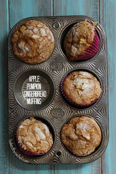 Apple Pumpkin Gingerbread Muffin Recipe by bakedbyrachel #Muffins #Apple #Pumpkin #Gingerbread