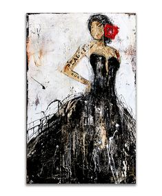 Made on 48x30 canvas - The girl with the single Rose - available for purchase on erinashleyart.com
